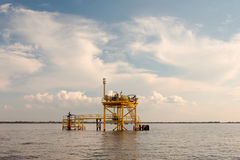Pipeline Platform. A platform with heater used as part of the pipeline carrying oil or natural gas.  Shot in Galveston Bay, Texas Royalty Free Stock Photos