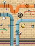 Pipeline on plumbing concept background Royalty Free Stock Images