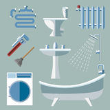 Pipeline plumbing icons in flat style Stock Images