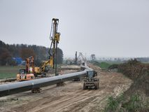 Pipeline ready for burrowing. stock photos
