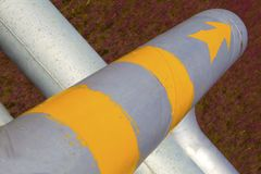 Pipeline. Red Beach on the oil pipeline royalty free stock images