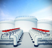 Pipeline with red valve. Fuel or oil industrial storages on back. 3d rendered illustration of pipeline with red valve. Fuel or oil industrial storages on Stock Images