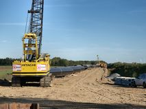 Building a gas pipeline between Russia and Western Europe. stock photography