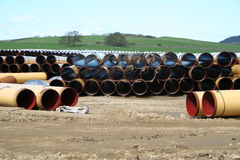 Pipeline Storage Depot. A pipeline storage facility with thousands of pipes ready to be laid royalty free stock photo