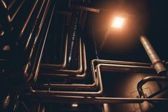 Pipeline system in food, drink or chemical factory for component delivery royalty free stock image
