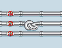 Pipeline with Three pipe and one Tied in a Knot. Vector Concept royalty free illustration