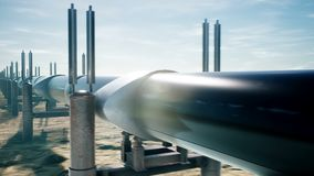 Pipeline transportation oil or natural gas. Realistic cinematic loopable animation. Camera is moving along the pipeline.