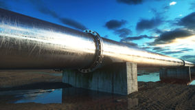 Pipeline transportation oil, natural gas or water in metal pipe. Oil concept. 3d rendering. Stock Photo