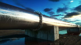 Pipeline transportation oil, natural gas or water in metal pipe. Oil concept. Realistic cinematic 4K animation. Pipeline transportation oil, natural gas or stock video