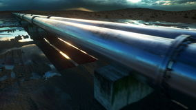 Pipeline transportation oil, natural gas or water in metal pipe. Oil concept. Realistic cinematic 4K animation.