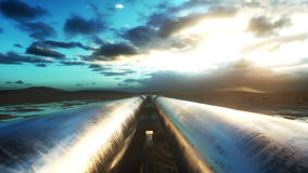 Pipeline transportation oil, natural gas or water in metal pipe. Oil concept. Realistic cinematic 4K animation. Pipeline transportation oil, natural gas or stock footage