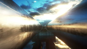 Pipeline transportation oil, natural gas or water in metal pipe. Oil concept. Realistic cinematic 4K animation. Pipeline transportation oil, natural gas or stock video footage