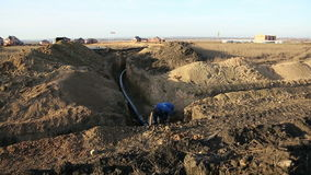 Pipeline trench. Construction of the pipeline stock video footage