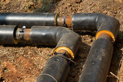 Pipeline  trench  ground Stock Images
