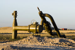 Pipeline valve. In a new oil and gas drilling area in Wyoming Royalty Free Stock Images