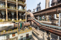 Pipeline valve facilities in steel mills Stock Photos