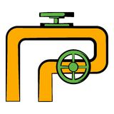 Pipeline with valve and handwheel icon. In icon in cartoon style  vector illustration Royalty Free Stock Photos