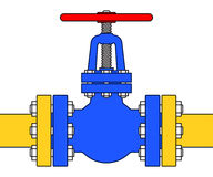 Pipeline valve. Illustration of the pipeline valve stopcock icon Stock Photography