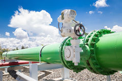 Pipeline valves of cooling water system in power plant Stock Images