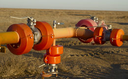 Pipeline valves. Pipe valves, regulates the liquid flow direction in the conduit Stock Images