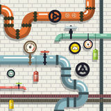 Pipeline. Vector Flat Design Plumbing. Pipes on Brick Wall Royalty Free Stock Photo