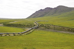 Pipeline view on the north slope. A view of the Alaska oil pipeline in the wilderness royalty free stock photos