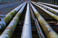 Pipeline. A view of petrochemical pipes disappearing into the horizon Stock Image