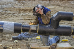 Pipeline welding 2 Royalty Free Stock Photo