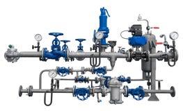 Pipelinefragment med apparater royaltyfri foto