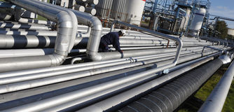 Pipelines And Oil Refinery Royalty Free Stock Photos