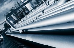 Pipelines construction inside oil and gas refinery Stock Images