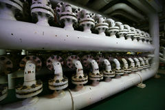 Pipelines constructions on the production platform, Production process of oil and gas industry, Piping line on the platform Stock Photography