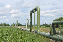 Pipelines through a field Royalty Free Stock Image