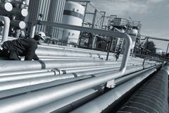 Pipelines, fuel and engineer Royalty Free Stock Images