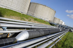 Pipelines and fuel-tanks Royalty Free Stock Image