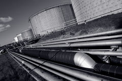 Pipelines and fuel-tanks Royalty Free Stock Images