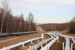 Pipelines leading into the horizon Stock Photos