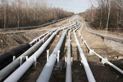 Pipelines leading into the horizon Royalty Free Stock Image