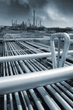Pipelines leading to oil and gas refinery Stock Images