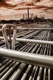 Pipelines leading to oil and gas refinery Royalty Free Stock Photography