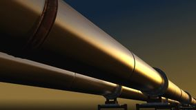 Pipelines loop perspective tracking, dark sky. Two pipelines loop perspective tracking under dark sky stock video