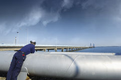 Pipelines and oil Stock Photo