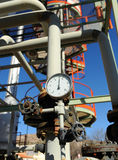 Pipelines of an oil distillation industry stock images