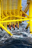 Pipelines in oil and gas platform. Oil and Gas Producing Slots at Offshore Platform - Oil and Gas Industry Stock Image