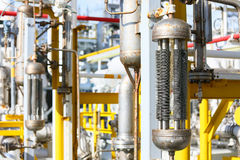 Pipelines on oil and gas platform for production, Oil and gas process and control by automation system, Operator control product Royalty Free Stock Photography