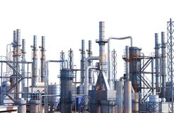 Pipelines of a oil and gas refinery industrial plant. 3d illustration royalty free stock images