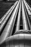 Pipelines perspective. Black and white image Stock Photo
