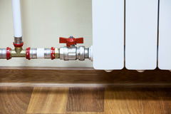 Pipelines with shutt of valve with white central heating Stock Image