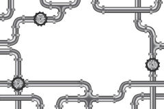 Pipelines with valve and lots of copy space. Frame for plumbing water, gas or oil industry royalty free illustration