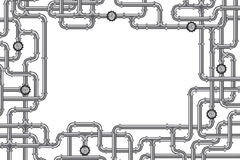Pipelines with valve steel tubing copy space. Pipelines with valve and lots of copy space frame for plumbing water, gas or oil industry white background with royalty free illustration